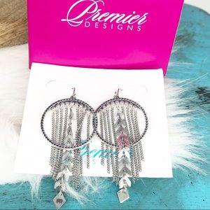 Premier Designs Silver Frolic Tassel Earrings NIB